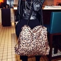 2014New Style bags leopard print vintage rivets bag one shoulder handbag large bag female