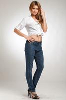 2014 Spring Women New Jeans Pants Plus Size Feet Pencil Pants Female Hight Waist Denim Pants Elastic Waist Trousers
