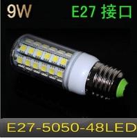 Free shipping New arrival  LED bulb  SMD 5050 E27  9w led corn bulb lamp, 48LED Warm white /white led lighting