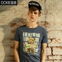 Hot-Selling 2014 Cotton T-shirt  Casual Round Collar Slim Cartoon Printing Men's Short-Sleeve