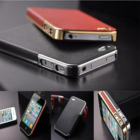 Cool Luxury Gold/Silver Chrome Leather Case For iPhone 4 4S Phone Back Cover Pc Skin Electroplating Process Microfiber Inside