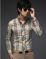 Free Shipping On Sale New Arrival Fashion Casual Slim Fit Shirts Long Sleeve Men Dress Shirts Classic Plaid Plus Size M,L,XL,2XL