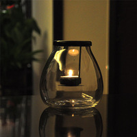 European glass lantern Candlestick holder cafe bar table ornaments home decor candles birthday gift