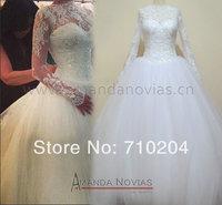 2014 Hot Sale New Arrivals Long Sleeve Puffy Wedding Dress Real Photos 100% vestidos de novia amanda novias