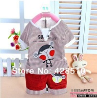 High-quality Summer  Baby boy baby clothing Kids Suits clothes Sets lovely monkey angel free shipping