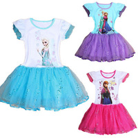 Retail, new 2014 Frozen Elsa Anna costume princess dress sequined cartoon costume Free shipping girls dresses.