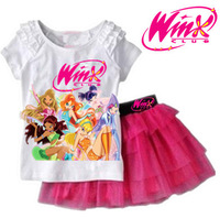 Girls Clothing Set T shirt + Skirt 2Pcs Suits Winx Club Cartoon Kids Set Children's clothes Free shipping