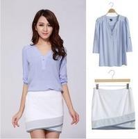 High Quality Women's Short Skirt Japanese Style Elastic Sexy Slim Hip Skirt +Shirt MG-142