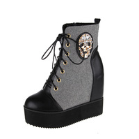 2014 spring and autumn platform women's shoes martin wedges skull snow boots black and white motorcycle boots for ladies 5