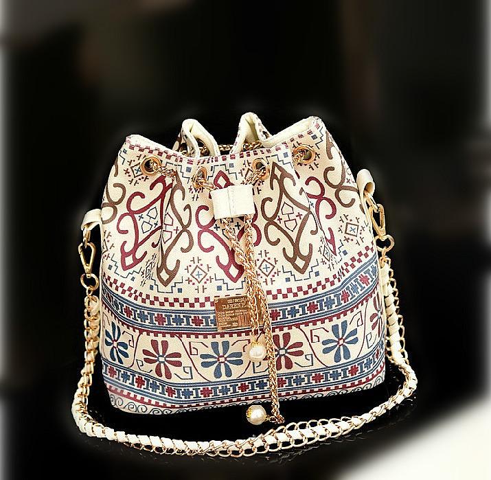 Bohemia Wholesale Drawstring Bag Patchwork Patterns Shoulder Messenger Bag Women Handbag Chain Bag Diagonal Package Canvas Tote(China (Mainland))