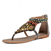 2014 New arrival national style rivet bead sandals for female plus size 34-41 with free shipping
