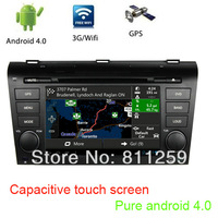 Pure android 4 car dvd navigation for  old mazda 3 2003-2009 with canbus capacitive touch screen