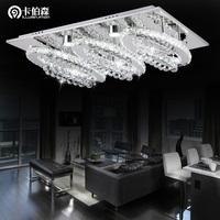 free shipping Modern rectangle ceiling light stainless steel led crystal lamp lighting restaurant lamp 81069