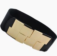 Women Decorate Belt Cintos cinturon Vintage Gold Alloy Buckle Lady's Elastic waistband Elegant Fashion N69