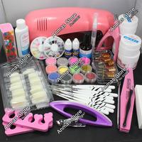 Pro Nail Art UV Gel Kits Tools Pink UV lamp Brush Tips Glue Acrylic Powder Set #30