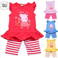 peppa pig baby girl set  cotton Free shipping 1set retail 3~9age 2014 summer children sets shij195