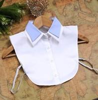 New arrival Hot sales white women shirt fake false collar half-shirts double layer collares 2014 apparel accessoires detachable