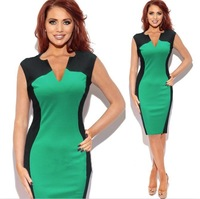 New Summer Style Fashion Ladies' Classic Black and Green Splicing Slim V-Neck Pencil Casual Party Cocktail Bodycon Dresses S-XL