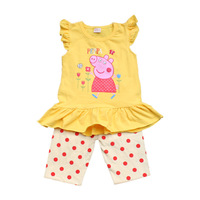 1pcs Retail peppa pig girls suit summer set tutu lace dress+pant one piece retail christmas rose fashion 2014