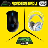 Promotion Bundle, Razer Deathadder 3.5G + Razer Goliathus 2013 Small SIze+Steeleeries Siberia Frostblue, Brand New Free Shipping