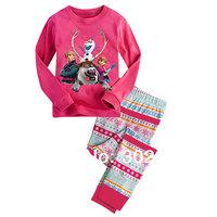 2014 New Girls pajama Sets Frozen Princess cartoon style costume Kids Pyjama sets Children's Sleep wear cotton Free Shipping
