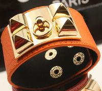LBL05 Women LadiesPunk Style Metal Studded PU Leather Cuff Bracelet Bangle Free Drop Shipping
