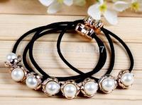 Free Shipping 2014 New 50pcs/lot Wholesale Pearls&Bowknot Elastic Hair Bands Hair Tie Ropes Ponytail Holder