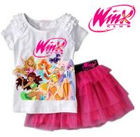 2014 New arrival Girls Clothing Set T shirt + Skirt 2Pcs Suits Winx Club Cartoon Kids Set Children's clothes Free shipping
