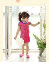 Top On Top retail new 2014 girl summer short sleeves dress  children  dot dress good quality kids cool sweet cotton dress