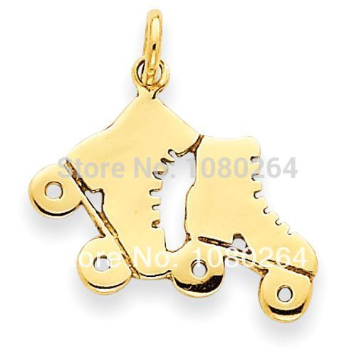Zinc alloy gold plated roller skates sports shoes charms pendant 100 pcs a lot(H105177)(China (Mainland))