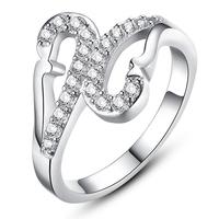 2014 Lady Swan CZ White Silver Animal Rings For Women (Silveren SI1260)