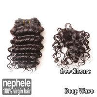 Brazilian Deep virgin hair 3pcs lot natural color human hair products cheap brazilian deep wave curly virgin hair weaves sale
