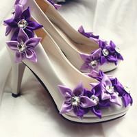 2014 new design Wedding bridal shoes fashion purple flower decoration women wedding shoes white free shipping wedding shoes