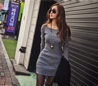 2014 Autumn New Casual Women Thin Solid Color Strapless Square Collar Mini Sheath Dress Vestidos, Gray, Black, M, L, XL, XX