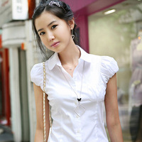 2014 summer women's 100% cotton short-sleeve OL work wear top basic  puff sleeve slim women's shirt white shirt plus size