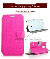 i9600 Case Luxury Band Silk Folding Flip Walltet PU Leather Cover For Samsung Galaxy S5 I9600,1PCS Free Postage
