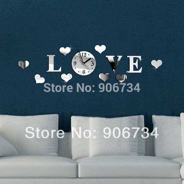 "High Quality DIY Home Modern Decoration 3D Crystal Mirror Living Room ""Love"" Word Pattern Design Wall Clock(China (Mainland))"