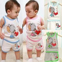 Clothing Set Babys set boys clothes Hot sale new 2014 casual cute Mouse kids clothes sets boy suit set t shirt + pants summer