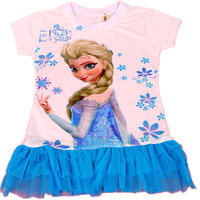 2014 Kids Girls Dress cute peacock color sleeveless princess dress circle FROZEN Fashion Blue children's clothing New Alince