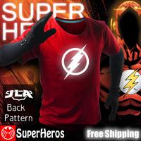 The Flash NEW 2014 fashion mens brand cotton novelty luminous tee t-shirts male short sleeve man casual clothing plus size XXXL