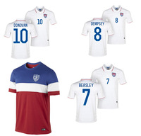 Top Thai quality World Cup 2014 USA Jersey Donovan Dempsey Bradley Beasley United States Jersey 2014 World Cup football shirt