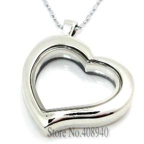 10 pcs!! 30mm coeur en argent de verre magnétique flottant locket charme en alliage de zinc livraison gratuite( chaînesinclus gratuitement)