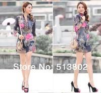 Red/Blue.Size:M,L,XL,XXL,3XL,4XL.2014 New Fashion Autumn Winter suit V-neck Floral women chiffon print plus size   dress