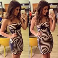 vestidos de festa 2014 new  Geometric stripe bandage dress women vestidos  femininos casual dress sexy party dresses