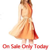 2014 new spring summer pleated woman chiffon casual dresses rainbow mixed color dress women skirt  beachwear sexy girl clothes