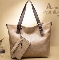 Hot sale 3 IN 1 fashion brief crocodile leather women shoudler bag genuine leather handbag