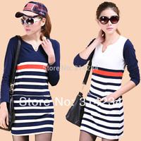 2014 Women's fringe dresses cotton V-neck stripe slim long sleeve mini S,M,L,XL,XXL female autumn winter body shirt dress