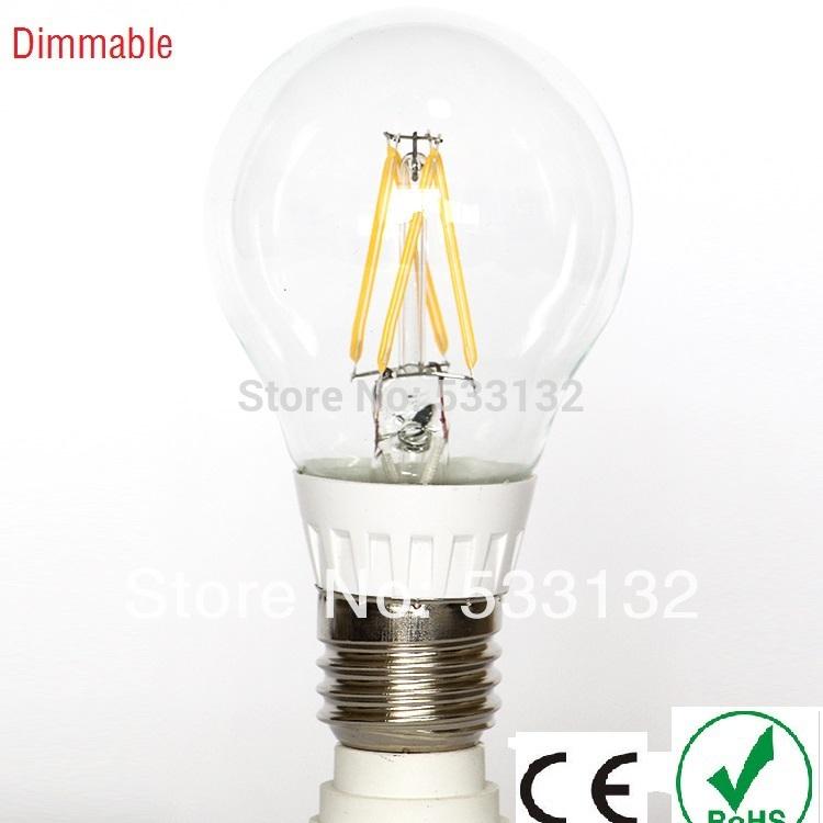 Free ship Dimmable 5W LED Lamps LED filament bulb 2pcs/lot led E27 led bulb leb light 360 degree A60 Bulb 60W replacment(China (Mainland))