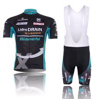 Bianchi cycling jersey 2014 short sleeve cycling clothing Men summer cycling wear+short bib suit