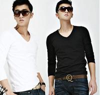 Hottest  V-neck tee shirt solid color slim long-sleeve men's long sleeve T-shirt